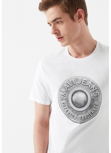Mavi Erkek  Düğme Baskılı   Tişört 066194-620 Beyaz